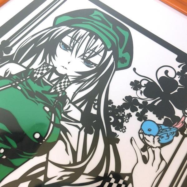 灯夜雪 「少女とことり」 オリジナル作品 切り絵アート 額付き A3サイズ importedstickers 05