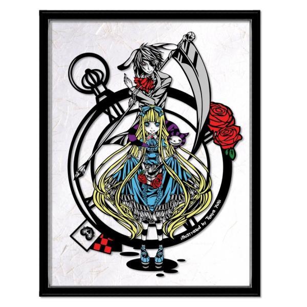 灯夜雪 「アリスカード(カラーVer)」 不思議の国のアリス 切り絵アート 額付き A3サイズ|importedstickers