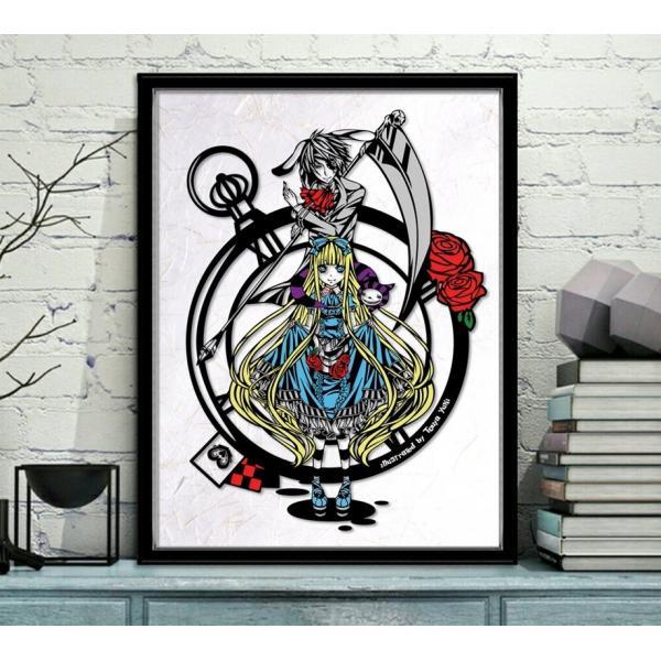 灯夜雪 「アリスカード(カラーVer)」 不思議の国のアリス 切り絵アート 額付き A3サイズ|importedstickers|02