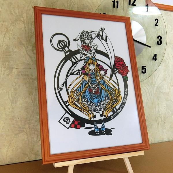 灯夜雪 「アリスカード(カラーVer)」 不思議の国のアリス 切り絵アート 額付き B4サイズ|importedstickers|03