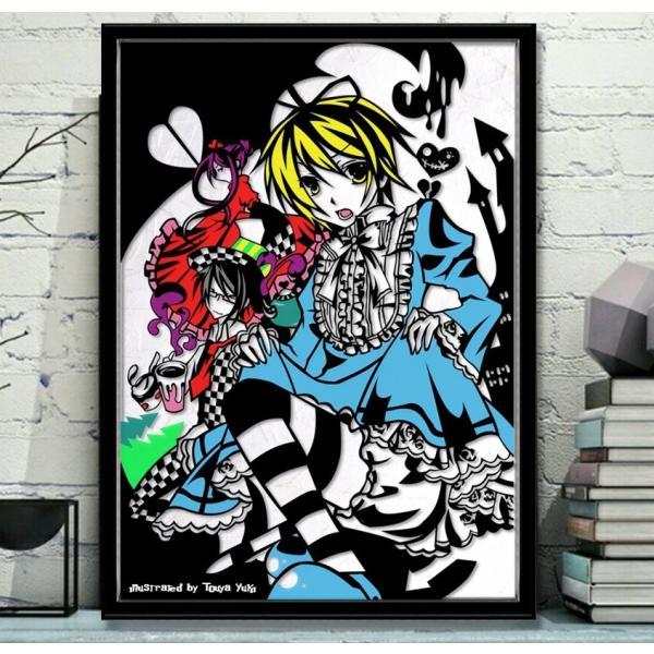 灯夜雪 「少年アリス(カラーVer)」 ふしぎの国のアリス 切り絵アート 額付き A3サイズ|importedstickers|02