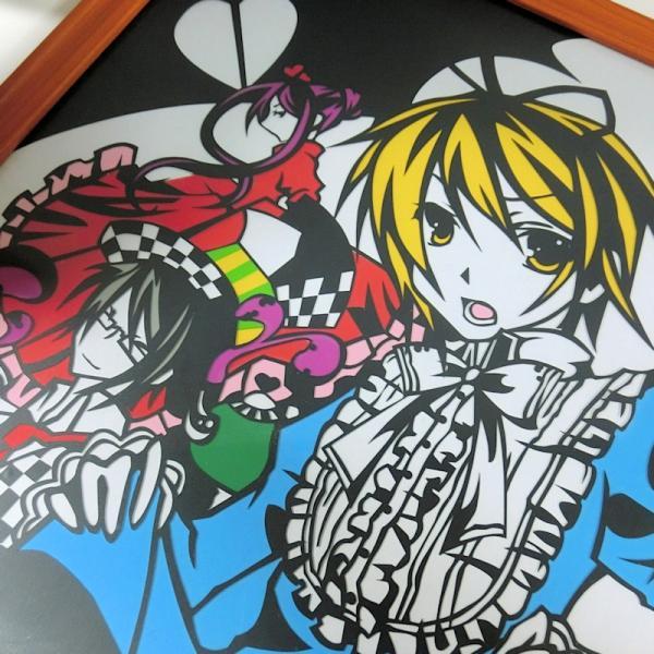 灯夜雪 「少年アリス(カラーVer)」 ふしぎの国のアリス 切り絵アート 額付き A3サイズ|importedstickers|05
