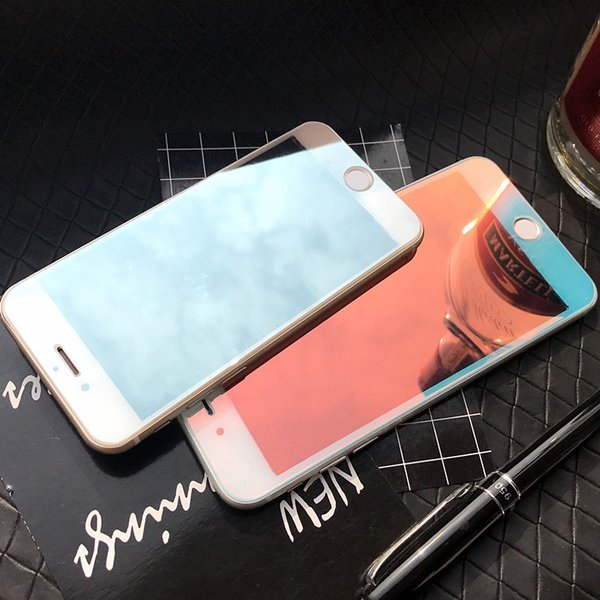 iPhone強化ガラスフィルム ミラータイプ 鏡 フルカバー iPhoneX,8,7,6 アイフォン ピンク シルバー ブルー ゴールド|importmarket|03