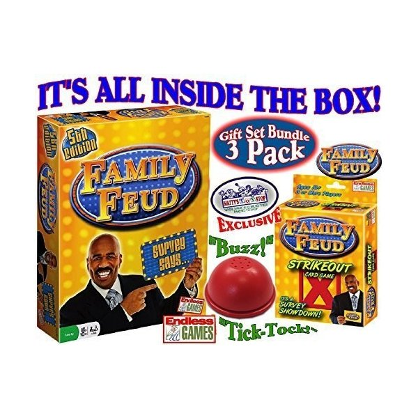 Family  Feud 5th Edition card Game /& Exclusive Electronic Buzzer Board Game