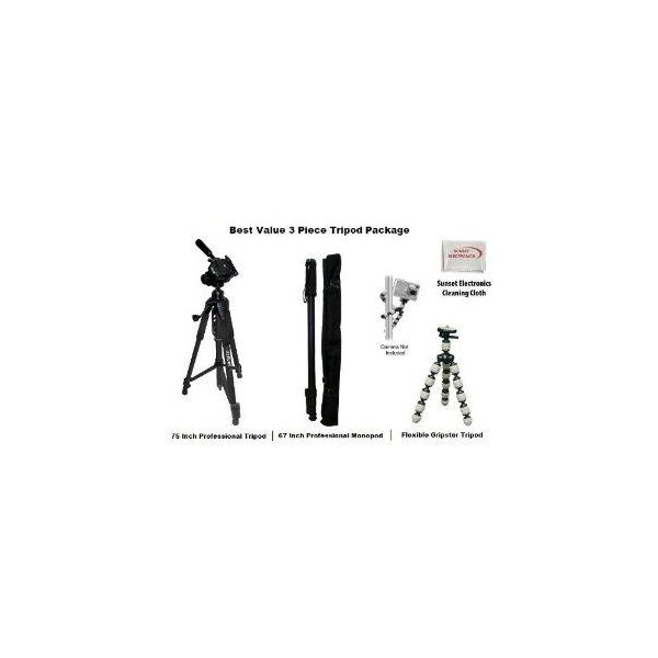 3 Piece Best Value Tripod 三脚 Package For The Sony CYBER-SHOT DSC-V3 F717 F707 V1 W1 W5 W7, F505