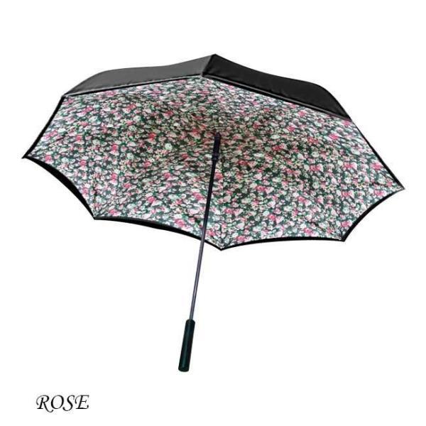 【送料無料】傘 レディース おしゃれ ワンダードライアンブレラ 逆さま傘 ワンタッチ 雨傘 濡れない傘 ブラック ブルー レッド 花柄 ローズ 男女兼用 台風|impossible-dream|11