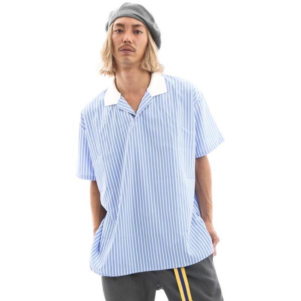 Inspiration improves select ビッグシルエット ポロシャツ スキッパーシャツ ストライプ 韓国 ファッション メール便対応|improves|02