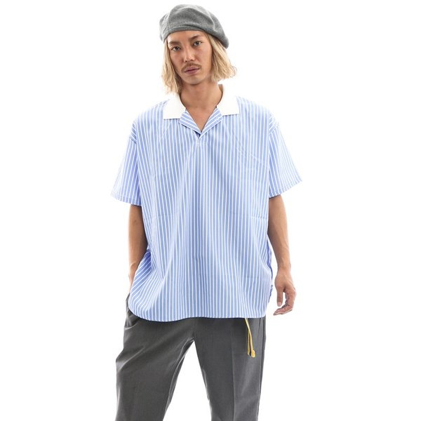 Inspiration improves select ビッグシルエット ポロシャツ スキッパーシャツ ストライプ 韓国 ファッション メール便対応|improves|03