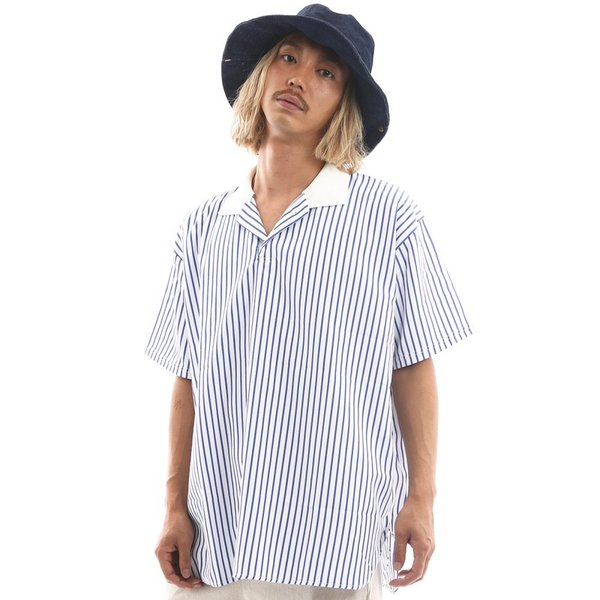 Inspiration improves select ビッグシルエット ポロシャツ スキッパーシャツ ストライプ 韓国 ファッション メール便対応|improves|04