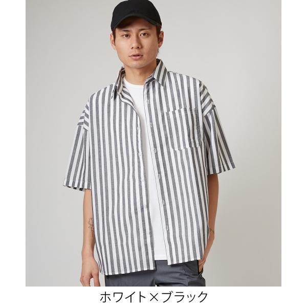 ストライプ ビッグシルエット シャツ メンズ 半袖 ビッグシャツ ストライプシャツ 半袖シャツ ブロードシャツ オーバーサイズ ブラック improves 02