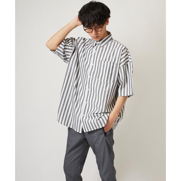 ストライプ ビッグシルエット シャツ メンズ 半袖 ビッグシャツ ストライプシャツ 半袖シャツ ブロードシャツ オーバーサイズ ブラック improves 03