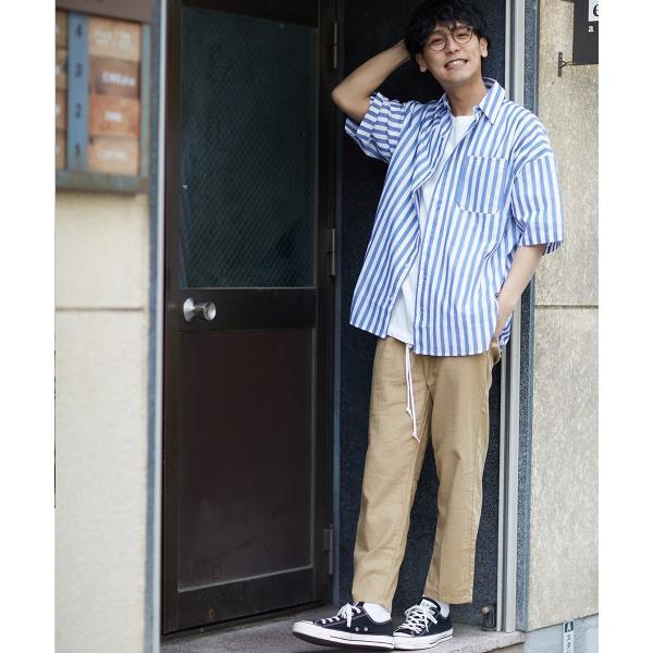 ストライプ ビッグシルエット シャツ メンズ 半袖 ビッグシャツ ストライプシャツ 半袖シャツ ブロードシャツ オーバーサイズ ブラック improves 05