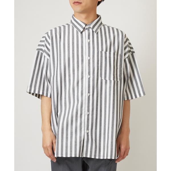ストライプ ビッグシルエット シャツ メンズ 半袖 ビッグシャツ ストライプシャツ 半袖シャツ ブロードシャツ オーバーサイズ ブラック improves 07