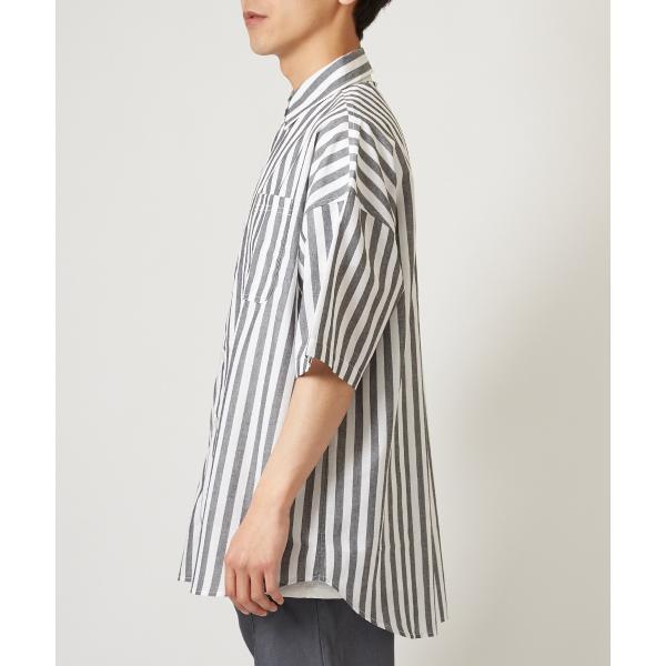 ストライプ ビッグシルエット シャツ メンズ 半袖 ビッグシャツ ストライプシャツ 半袖シャツ ブロードシャツ オーバーサイズ ブラック improves 08