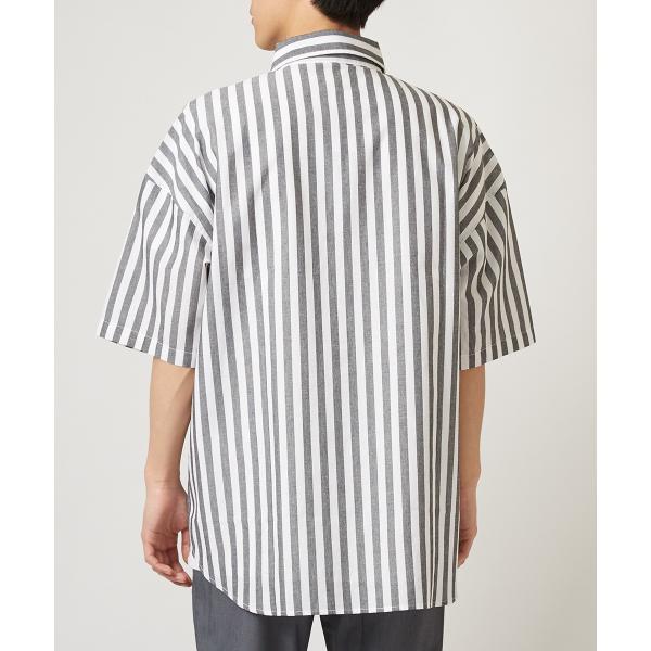 ストライプ ビッグシルエット シャツ メンズ 半袖 ビッグシャツ ストライプシャツ 半袖シャツ ブロードシャツ オーバーサイズ ブラック improves 09