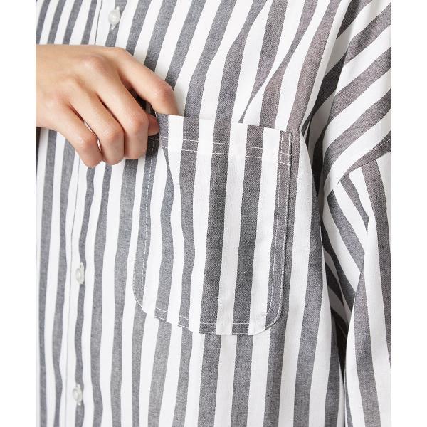 ストライプ ビッグシルエット シャツ メンズ 半袖 ビッグシャツ ストライプシャツ 半袖シャツ ブロードシャツ オーバーサイズ ブラック improves 10