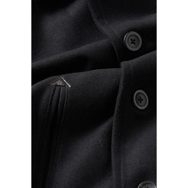 ピーコート メンズ Pコート メルトンウール ショート丈 ダブルボタン アウター ジャケット シンプル カジュアル スリム  黒 キャメル|improves|18