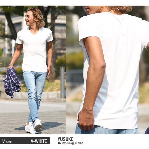 Tシャツ メンズ カットソー アメカジ Vネック Uネック クルーネック 無地 半袖 コットン|improves|12