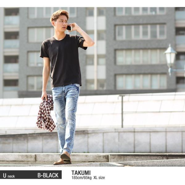 Tシャツ メンズ カットソー アメカジ Vネック Uネック クルーネック 無地 半袖 コットン|improves|15