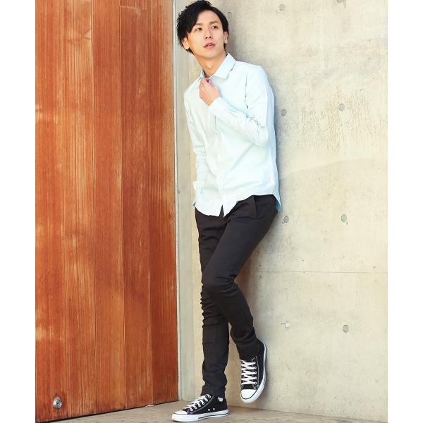 シャツ メンズ オックスフォード カジュアルシャツ 白シャツ 無地 7分袖 七分袖 長袖 トップス おしゃれ 夏 夏服 ファッション|improves|15