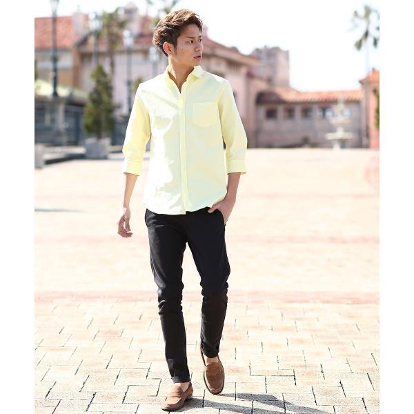 シャツ メンズ オックスフォード カジュアルシャツ 白シャツ 無地 7分袖 七分袖 長袖 トップス おしゃれ 夏 夏服 ファッション|improves|16