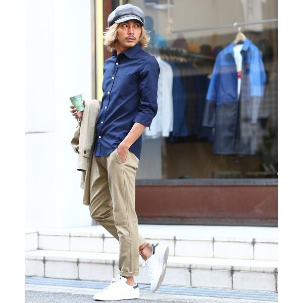 シャツ メンズ オックスフォード カジュアルシャツ 白シャツ 無地 7分袖 七分袖 長袖 トップス おしゃれ 夏 夏服 ファッション|improves|17