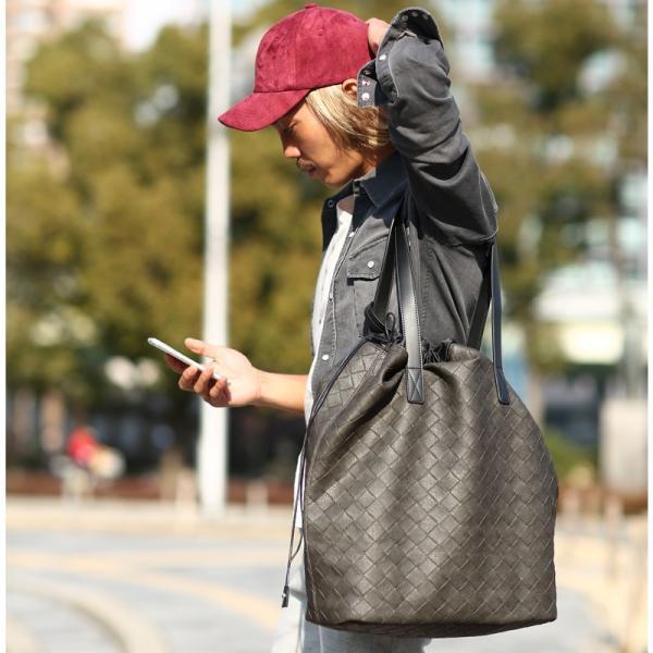 トートバッグ メンズ クラッチバッグ カバン 鞄 バッグインバッグ フェイク レザー 大きめ おしゃれ プレゼント おしゃれ ファッション|improves|09