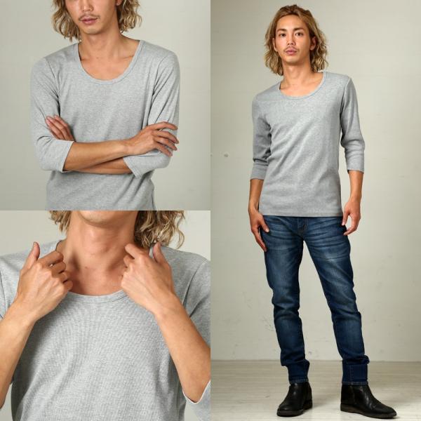 Tシャツ メンズ カットソー 七分袖 7分袖 無地 トップス おしゃれ 夏 夏服 ファッション|improves|16
