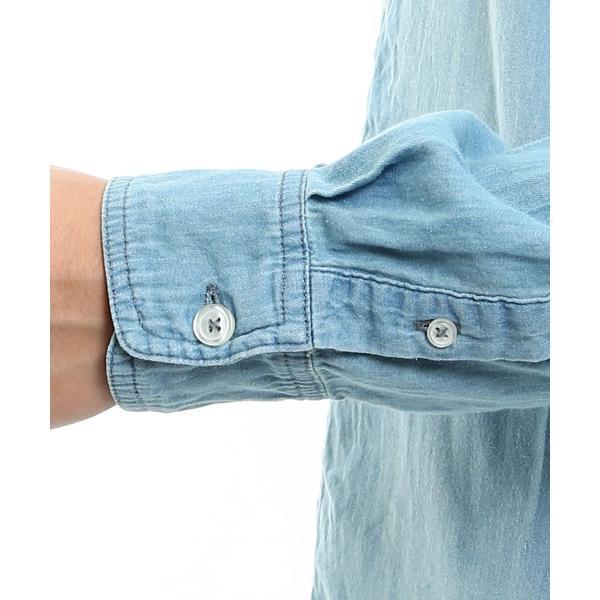 デニムシャツ メンズ 長袖 シャツ カジュアルシャツ ストレッチ コットン トップス ミリタリー おしゃれ 夏 夏服 ファッション 送料無料 メール便対応|improves|13