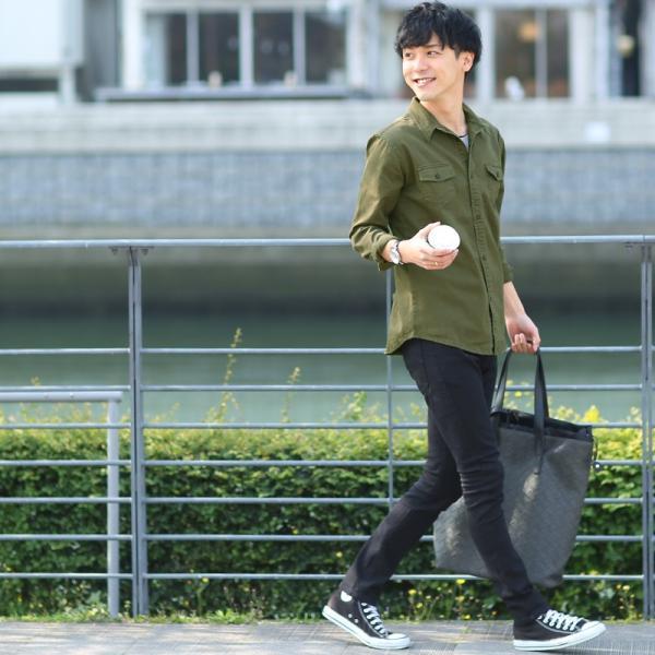 ミリタリーシャツ メンズ シャツ 長袖 無地 ワークシャツ おしゃれ トップス おしゃれ ファッション|improves|11