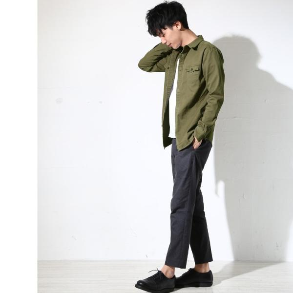 ミリタリーシャツ メンズ シャツ 長袖 無地 ワークシャツ おしゃれ トップス おしゃれ ファッション|improves|12