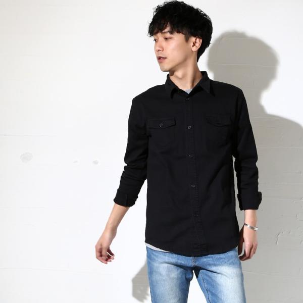 ミリタリーシャツ メンズ シャツ 長袖 無地 ワークシャツ おしゃれ トップス おしゃれ ファッション|improves|14