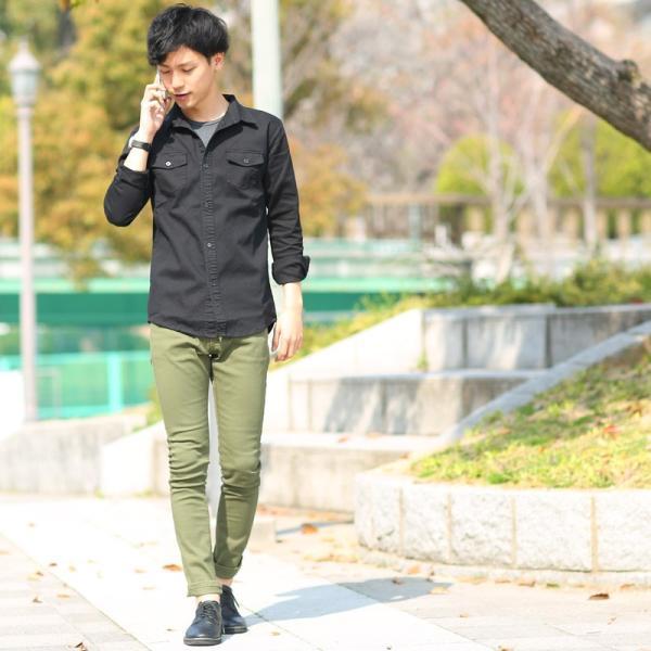 ミリタリーシャツ メンズ シャツ 長袖 無地 ワークシャツ おしゃれ トップス おしゃれ ファッション|improves|15