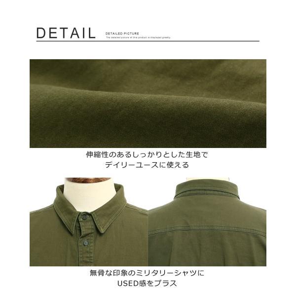 ミリタリーシャツ メンズ シャツ 長袖 無地 ワークシャツ おしゃれ トップス おしゃれ ファッション|improves|06