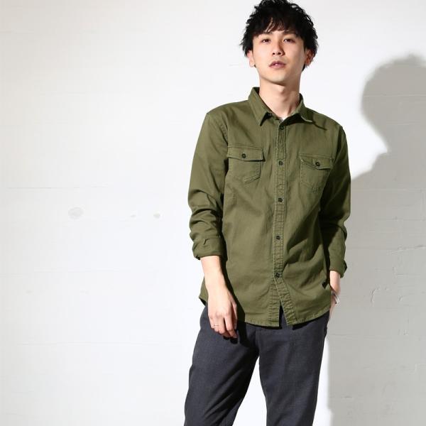 ミリタリーシャツ メンズ シャツ 長袖 無地 ワークシャツ おしゃれ トップス おしゃれ ファッション|improves|10