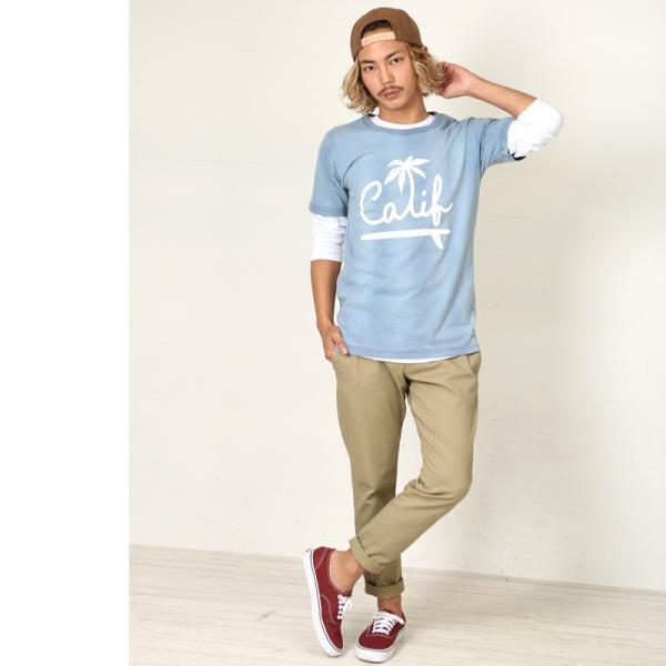 Tシャツ 半袖 インディゴ プリント  カットソー 半袖 アメカジ サーフ系 クルーネック おしゃれ ファッション|improves|04