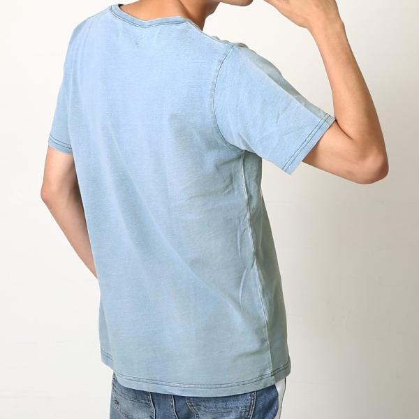 Tシャツ 半袖 インディゴ プリント  カットソー 半袖 アメカジ サーフ系 クルーネック おしゃれ ファッション|improves|08