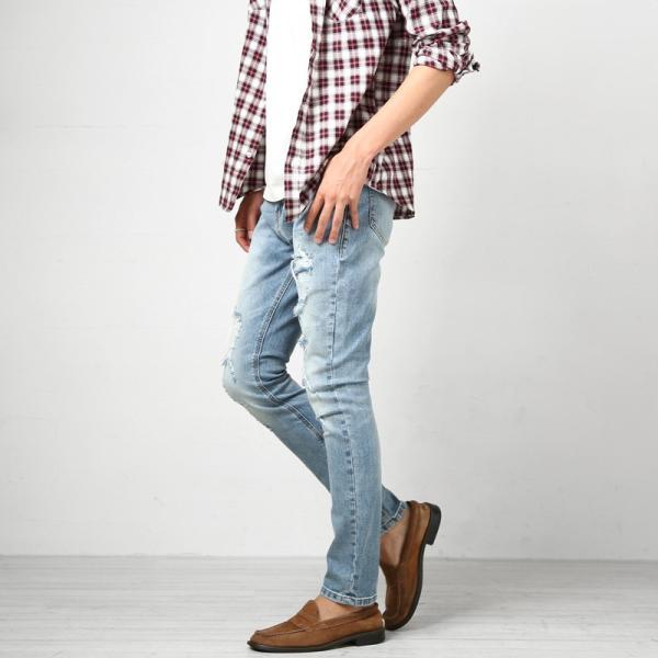 デニム メンズ ボトムス ジーンズ ダメージ加工 ダメージデニム  アンクル ジーパン イージーパンツ ストレッチ おしゃれ ファッション|improves|09