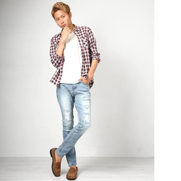 デニム メンズ ボトムス ジーンズ ダメージ加工 ダメージデニム  アンクル ジーパン イージーパンツ ストレッチ おしゃれ ファッション|improves|10