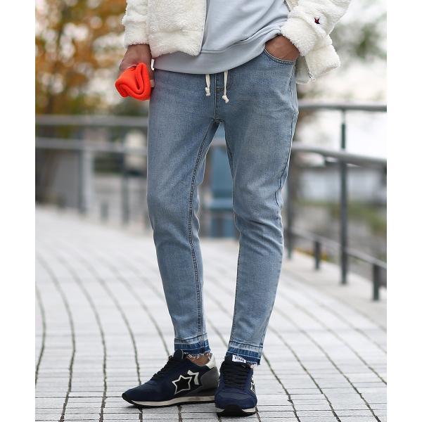 デニム メンズ ボトムス ジーンズ ダメージ加工 ウエストゴム アンクル ジーパン イージーパンツ ストレッチ おしゃれ ファッション|improves|02