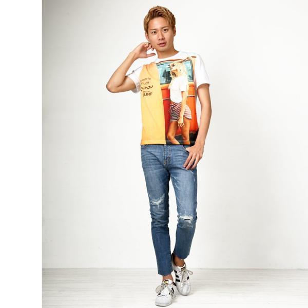 デニム メンズ ボトムス ジーンズ リペア加工 ダメージ加工 カットオフデニム アンクル ジーパン イージーパンツ ストレッチ おしゃれ ファッション|improves|10