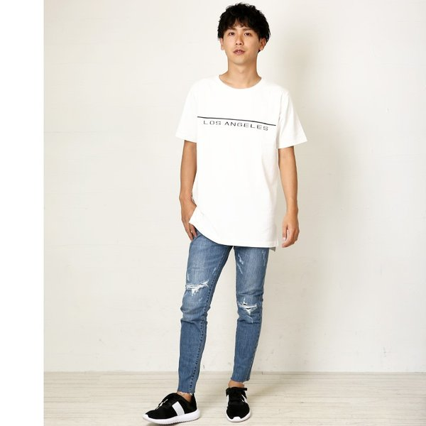 Tシャツ メンズ BIG ビッグシルエット プリント 半袖 トップス クルーネック スリット おしゃれ ファッション|improves|07