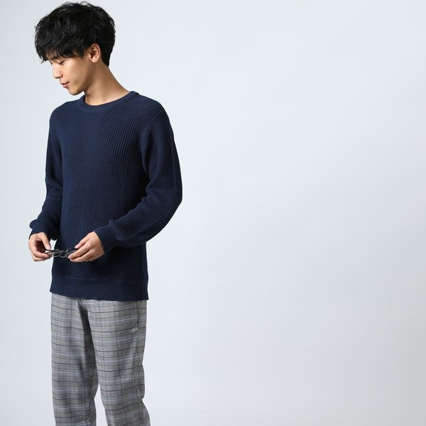 ニット メンズ セーター あぜ編み クルーネックニット Uネック 長袖 あったか 暖かい トップス シンプル カジュアル 大きいサイズ|improves|13