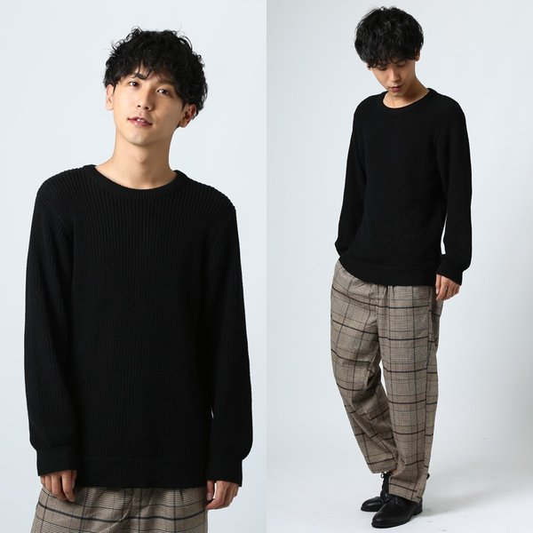 ニット メンズ セーター あぜ編み クルーネックニット Uネック 長袖 あったか 暖かい トップス シンプル カジュアル 大きいサイズ|improves|16