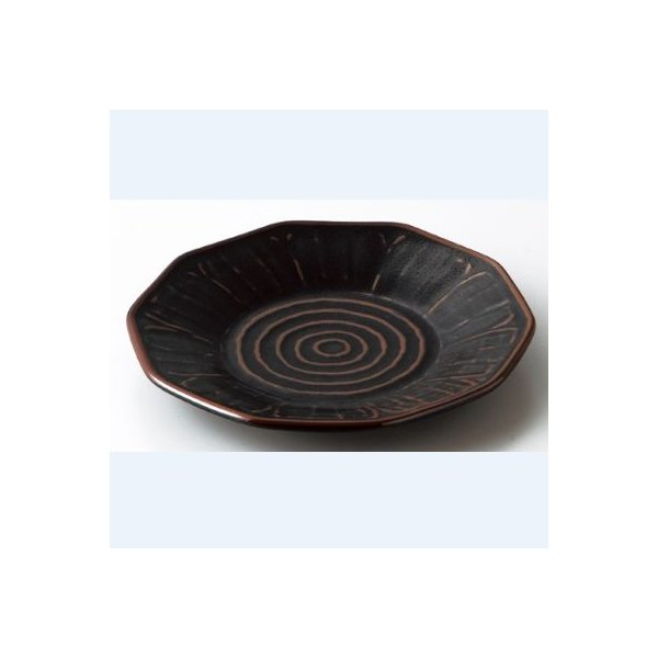 中華食器皿 柚子黒天目 十角7.5皿/業務用/新品