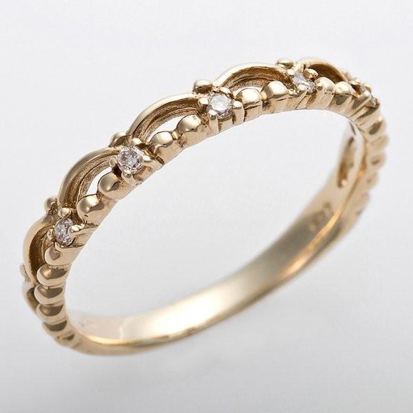 日本未発売 K10イエローゴールド 天然ダイヤリング 指輪 ピンキーリング ダイヤモンドリング 未使用品 プリンセス アンティーク調 3.5号 0.03ct ティアラモチーフ