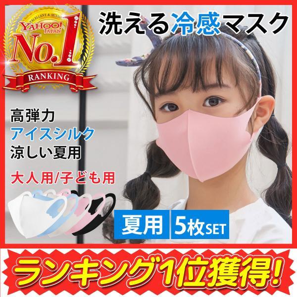 マスク冷感夏用洗える伸縮マスク子供用大人用5カラー5枚セット小さめ洗える繰り返し立体マスク保湿消化
