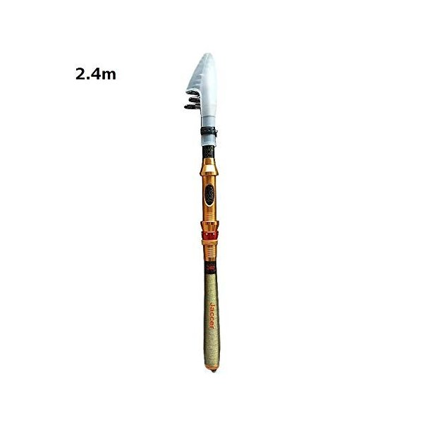Jaccer 伸縮式釣り海のロッド短いパラグラフ炭素材料シーオッター投げる釣竿2.4、2.7メートル (2.4m)