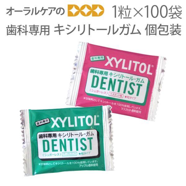 オーラルケア 歯科専用 キシリトールガム 個包装タイプ 1粒入 100袋 だ液力 メール便不可