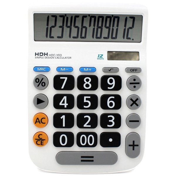 HDH 電卓 12桁 大型 くっきり見やすい数字 シンプル電卓 HDC-Y03 ホワイト|infomart